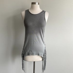 White Crow Grey Ombre Distressed Fringe Side Tank
